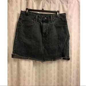 Distressed Black Dyed Levi's Mini Skirt
